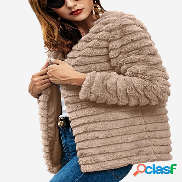 Abrigo de manga larga de color sólido de piel sintética