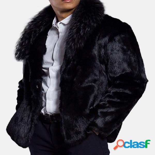 Abrigo de piel sintética cálido para hombre de invierno,