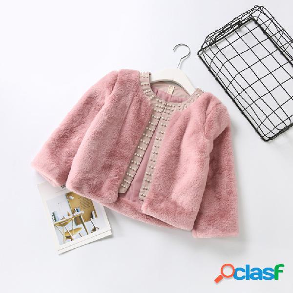Abrigo de piel sintética de invierno para niñas Outlet