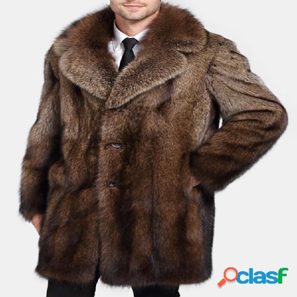 Abrigo de trinchera suelta de piel sintética para hombre
