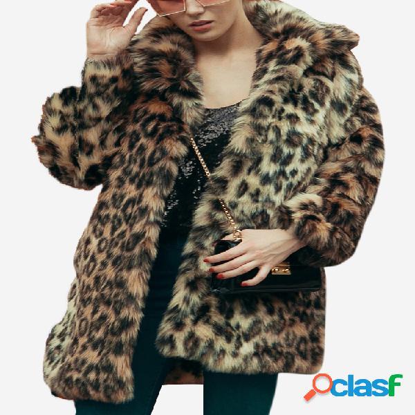 Abrigo elegante grueso de invierno de manga larga de piel