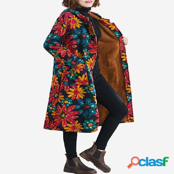 Abrigo largo con estampado floral y capucha Mujer Invierno