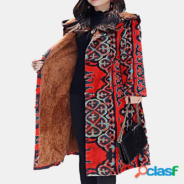 Abrigo largo de invierno con manga larga con estampado