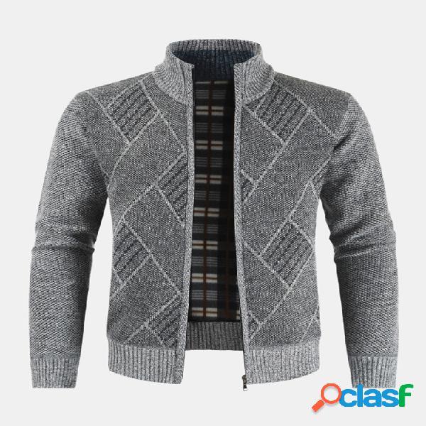 Abrigos de manga larga con cuello alto y suéter de punto
