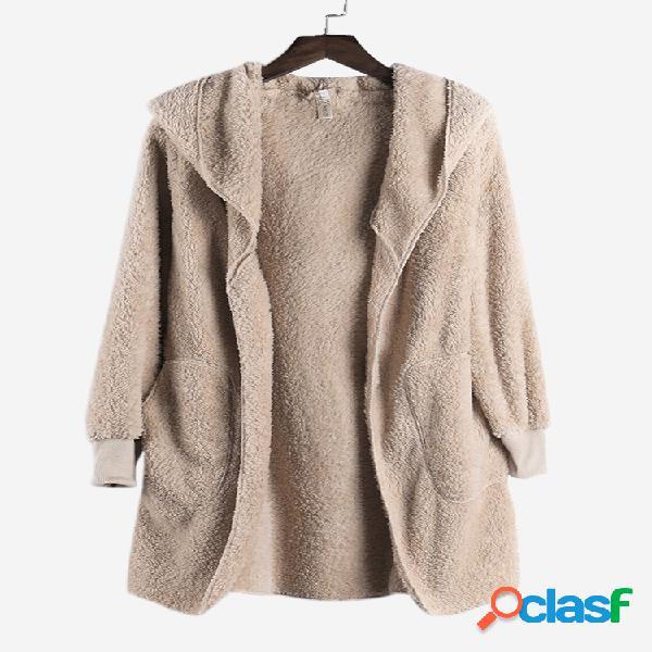 Abrigos de manga larga de color sólido con bolsillo de