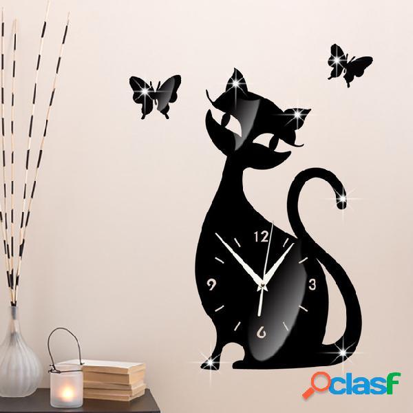 Acrílico Lindo Gato Pared Reloj Personalidad Creativa Negro