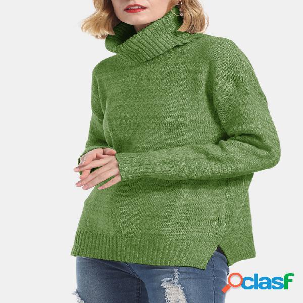Alto Cuello Suéteres casuales de invierno sueltos de manga