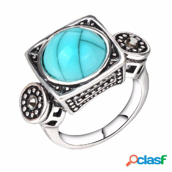 Anillo de dedo de moda azul turquesa cristal geométrico
