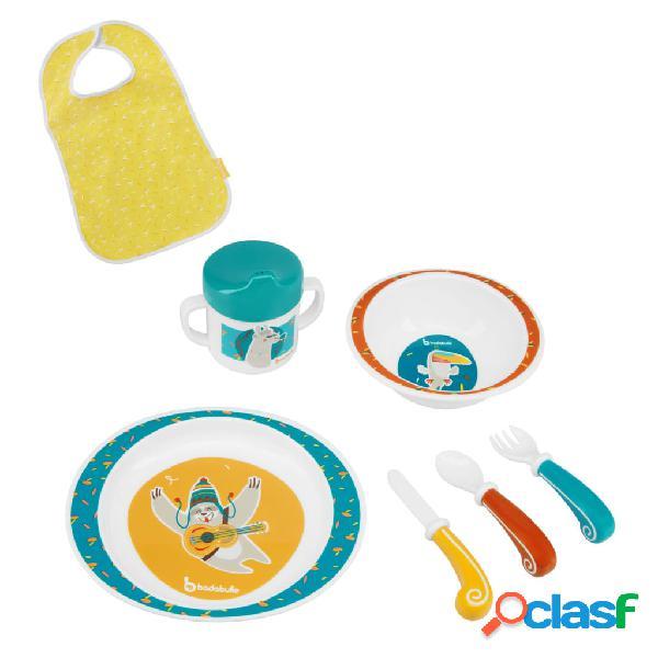 Badabulle Juego de vajilla para bebé 7 piezas Yummy azul