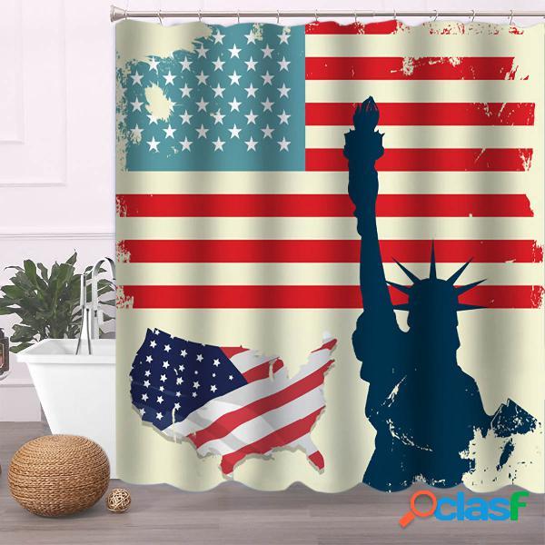 Bandera americana Cuarto de baño Cortina de ducha Alfombra