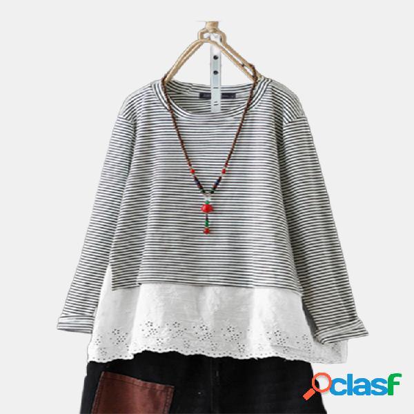 Blusa de algodón a rayas con bordado de parches Plus