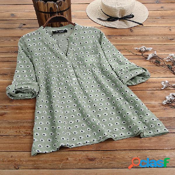 Blusa de manga larga con cuello en V estampado floral Plus