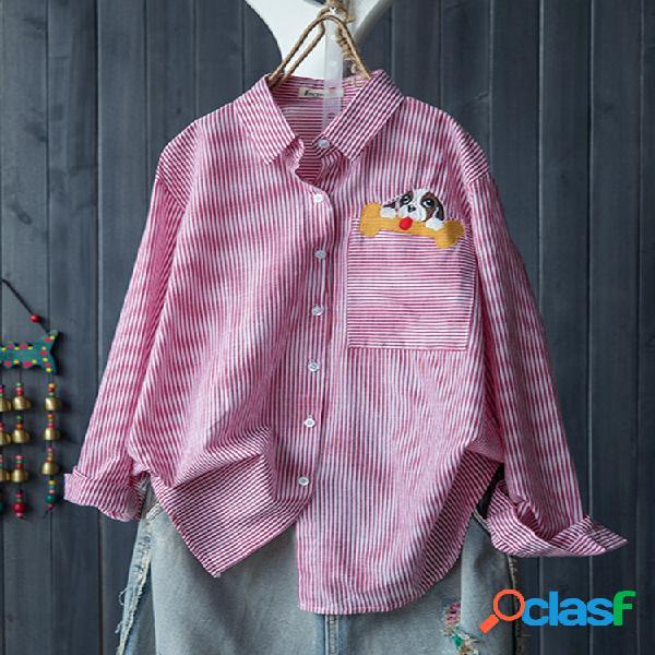 Blusas de manga larga de bordado a rayas de animales solapa