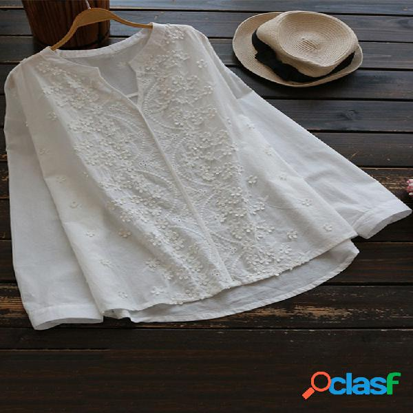 Blusas de manga larga de color sólido estereoscópico