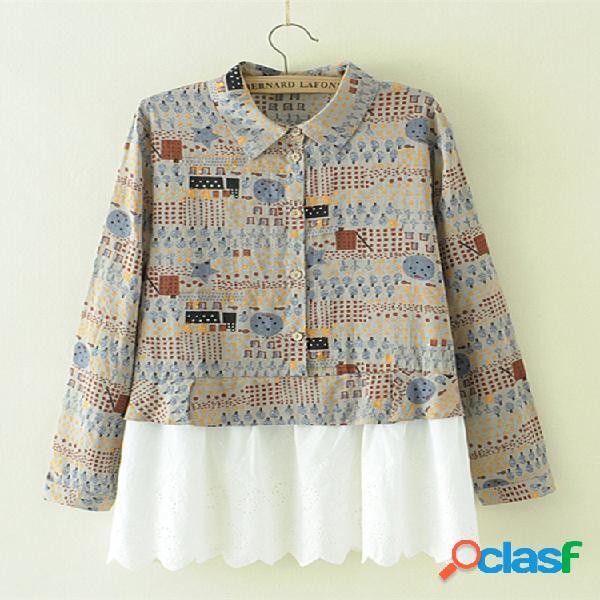 Blusas de manga larga de patchwork de solapa casual
