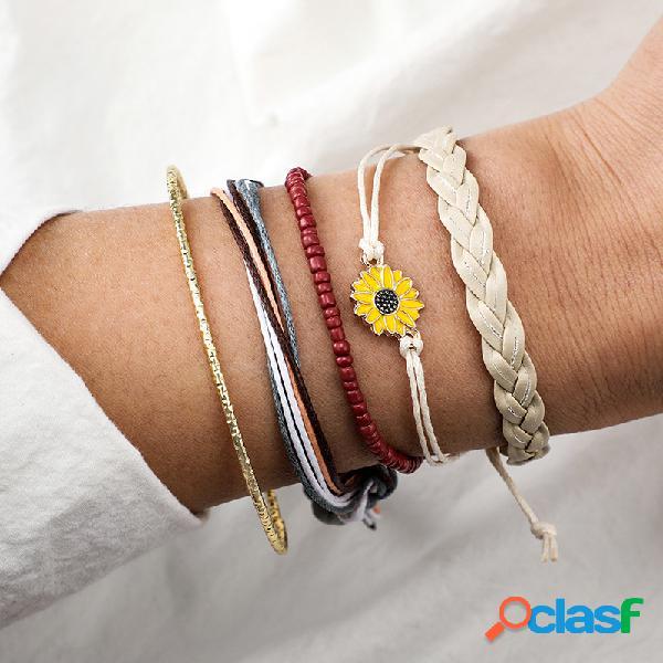 Bohemian Daisy Juego de pulsera de cuero 5 piezas vendimia