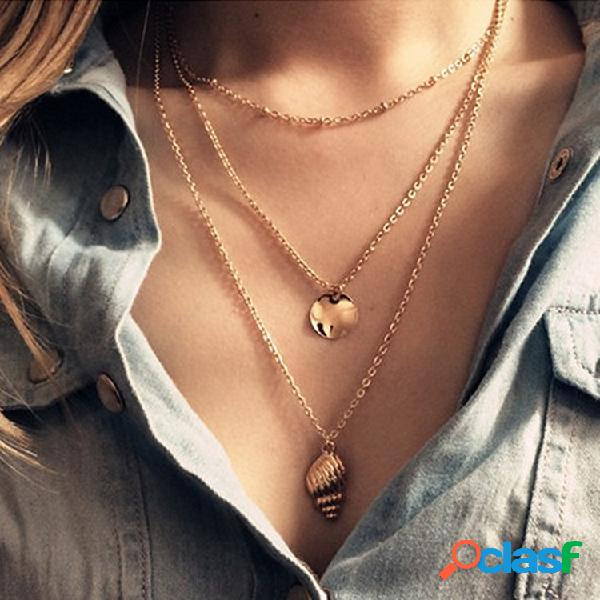 Bohemian Multi-layer Conch Colgante Collar largo redondo