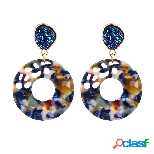 Bohemian Patrón resina Pendientes gota Colorful mármol