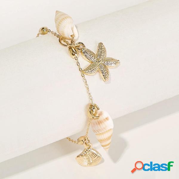 Bohemian Shell Conch Starfish Colgante pulsera de cadena