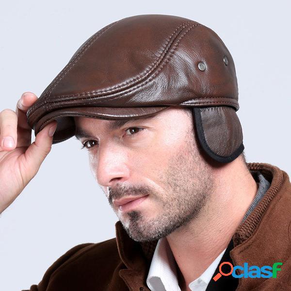 Boina clásica con orejeras de cuero genuino Gorro casual