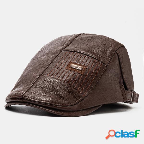 Boina de cuero para hombres Sombrero Casual Newsboy Cap Warm