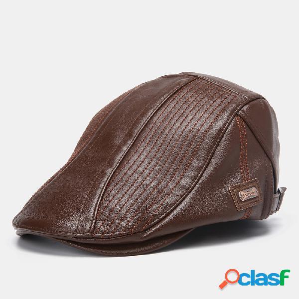 Boina de cuero para hombres Sombrero Gorra informal de