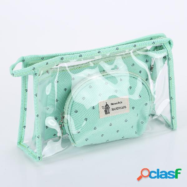 Bolso cosmético transparente de tres piezas de la corona