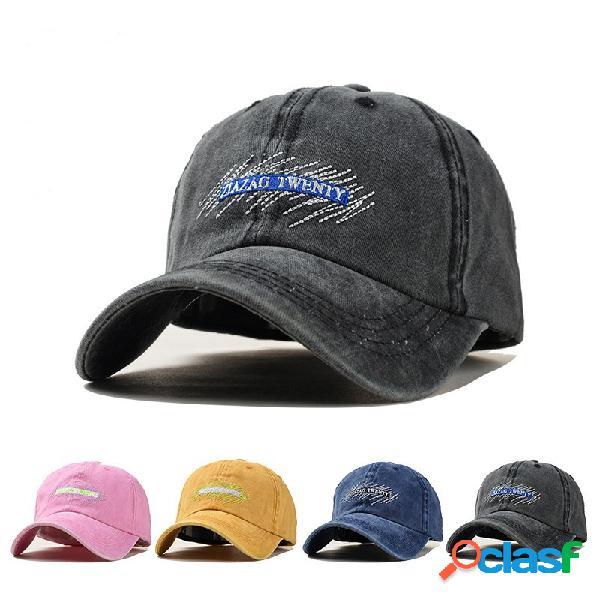 Bordado unisex Patrón gorra de béisbol de mezclilla lavada