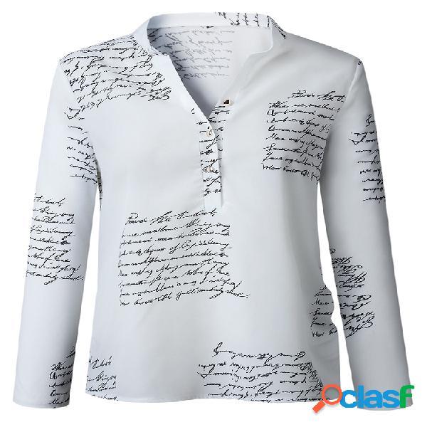 Camisa casual de manga larga con cuello en V y estampado de