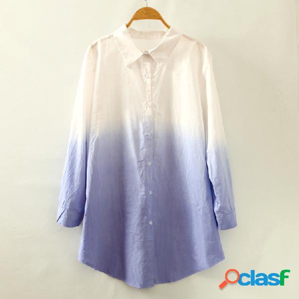 Camisa de manga larga casual de color degradado