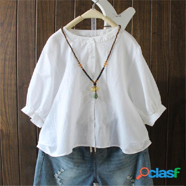 Camisa de manga larga con botones de murciélago color