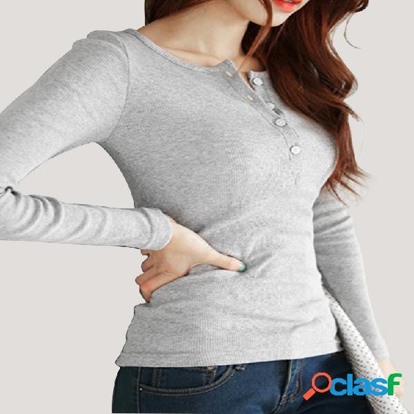Camisa de manga larga con botones en color liso