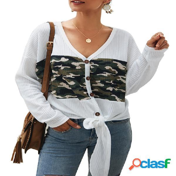 Camisa de manga larga con cuello en V parcheado Camisa