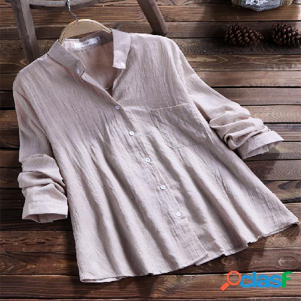 Camisa de manga larga en color liso con manga larga y