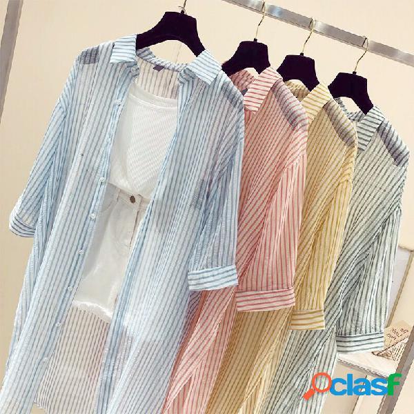 Camisa de manga larga suelta de rayas para Mujer