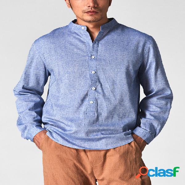 Camisas Henley de manga larga con cuello en V de lino y