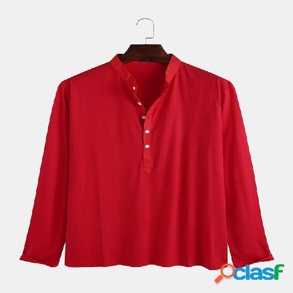 Camisas Henley de manga larga transpirables de color sólido