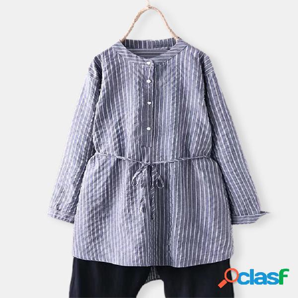 Camisas casuales de manga larga con botones de cordón a