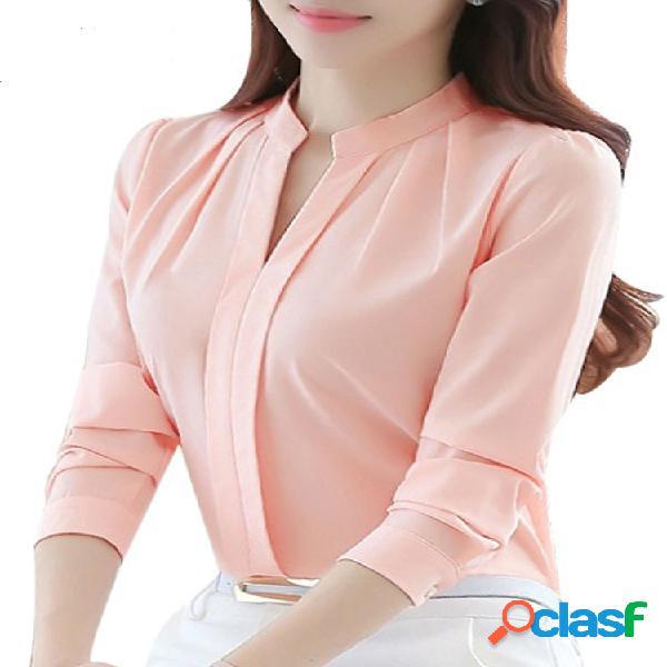 Camisas con cuello de muesca de manga larga de color liso