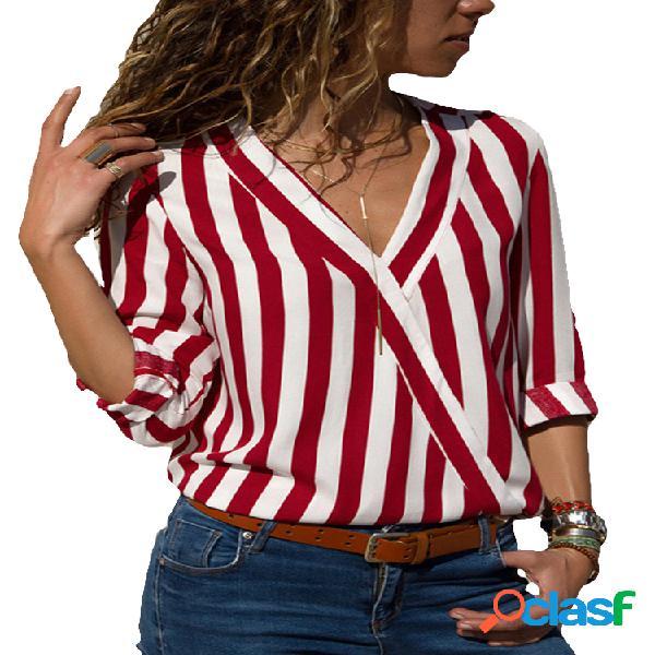 Camisas de manga larga a rayas sueltas con cuello en V para