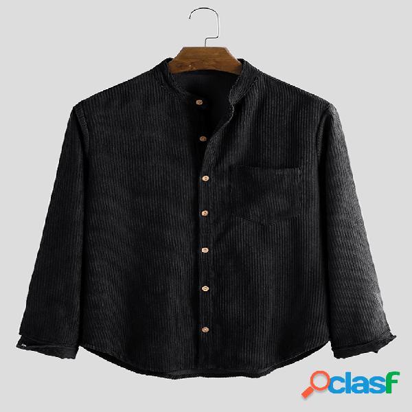 Camisas de manga larga casuales de pana de color sólido