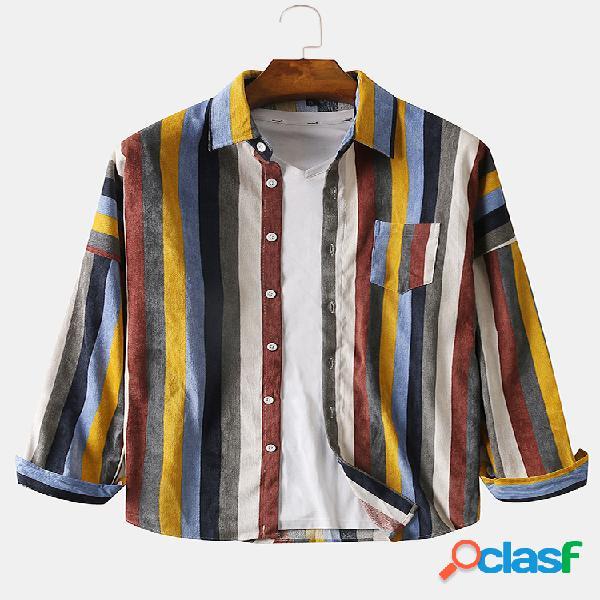 Camisas de manga larga casuales de pana de rayas de color de