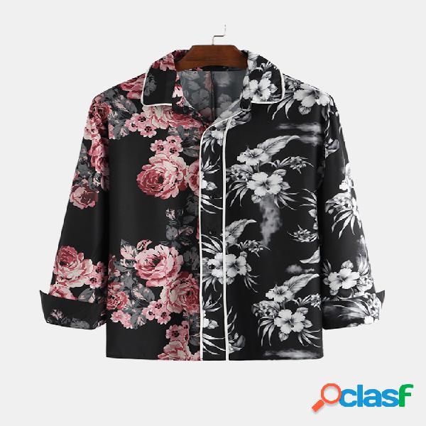 Camisas de manga larga con botones con estampado floral