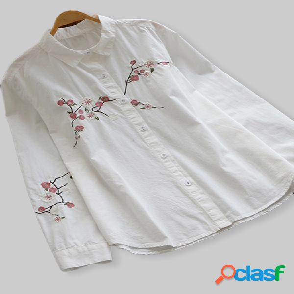 Camisas de manga larga con solapa bordada informal para