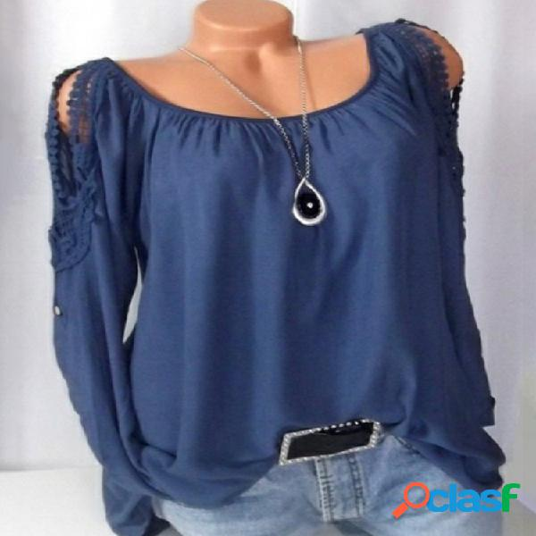 Camisas de manga larga de color sólido fuera del hombro con