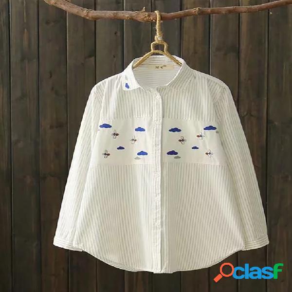 Camisas de manga larga de rayas bordadas de solapa