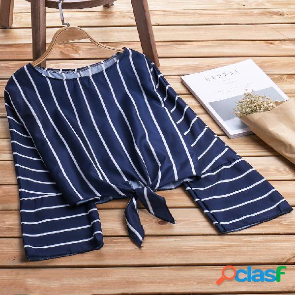 Camisas sueltas de manga larga con cuello en O de rayas