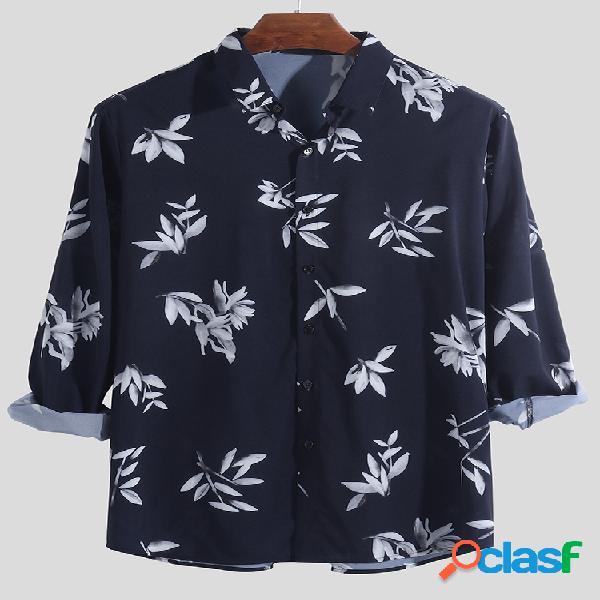 Camisas sueltas de manga larga con estampado floral para