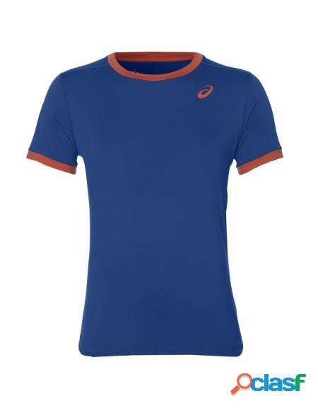 Camiseta Asics Club SS Top Azul y Coral - Ropa de padel