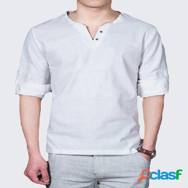 Camiseta casual de manga larga con cuello alto de lino para